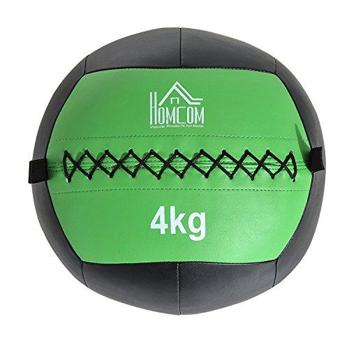HOMCOM Balón Medicinal de Crossfit 4Kg con Asas tipo Pelota de Ejercicios de Cuero y PU Ф35cm