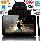 Tablette tactile 10 pouces Android 4.4 KitKat Quad Core 16 Go Noir