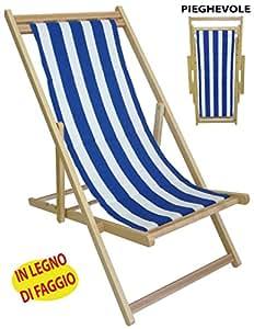 Sedia sdraio prendisole in legno tela a righe bianca blu per spiaggia campeggio piscina da mare - Sdraio da giardino ikea ...