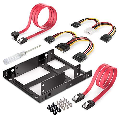 LYCOS3 interne Festplattenhalterung für 8,9 cm (3,5 Zoll) auf 2 x 2,5 Zoll (6,35 cm) SSD-Festplatten (SATA-Datenkabel und Stromkabel im Lieferumfang enthalten) Schwarz