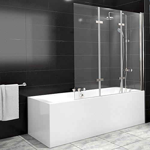 Duschabtrennung Badewanne, Glas, 3 Flügel, Nano-Beschichtung