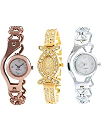 The Shopoholic Combo Of 3 Latest Fashionable Silver And Gold Dial Analog Watch For Girls-Womens Watches-Combo...
