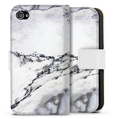 Apple iPhone X Silikon Hülle Case Schutzhülle Stein Marmor Marble Look Muster Sideflip Tasche weiß
