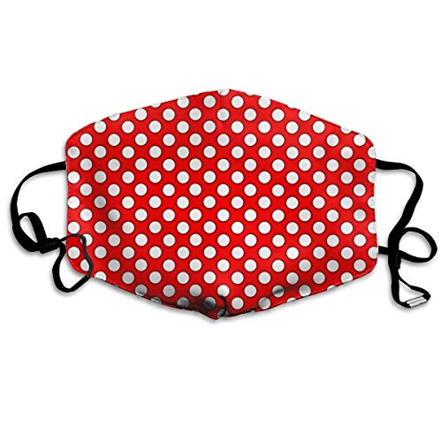 Vbnbvn Unisex Mundmaske,Wiederverwendbar Anti Staub Schutzhülle,Red Polka Dots Adult Fashion Mouth-Masks Washable Safety 100% Polyester Comfortable Breathable Health Anti-Dust Half Face Masks