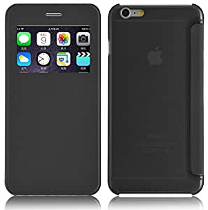 JAMMYLIZARD | Etui flip case à fenêtre et dos translucide pour iPhone 6 Plus 6s Plus, écran 5.5 pouces, Noir