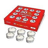 ARVO Teelichter, Weiß, geruchlos, 3-4 Stunden Brenndauer, 50 Stück