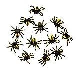 HAAC 12 künstliche Spinne für Feste, Fasching, Karneval, Halloween Farbe schwarz / gelb Größe 3 cm
