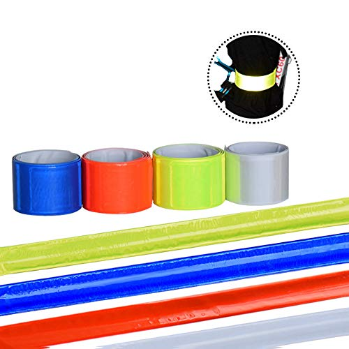 6 PVC Reflective Wristband Iuminous Night Running Bracelet, Pieces Reflective Ankle Bands, Safety Armbands High Visibility Adjustable Strap Belts Leichtgewicht Portable für Runner Outdoor-Aktivitäten.