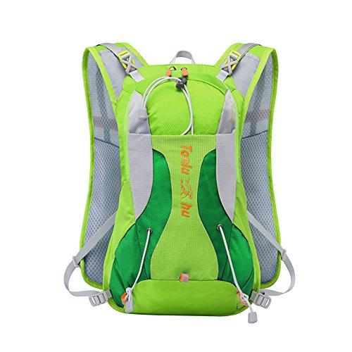 Verstellbarer Schultergurt / Brustgurt, der Wasserbeutel-Rucksack im Freien doppelte Schulter Querland-Reitpaketmänner wasserdichter wandernder Beutel ist Green