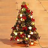 THEE, albero di Natale artificiale a LED, abete illuminato, decorato con catena di luci, pigne, sfere e fiocchi, 60cm