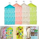 Bolsa de almacenamiento para organizar el armario de Caxmtu, con 16 bolsillos transparentes, para clasificar los calcetines, zapatos, juguetes y ropa interior, para colgar en la puerta o en la pared