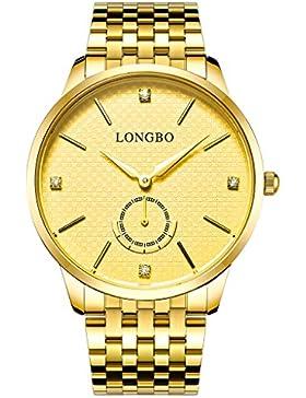 Longbo Luxus Herren Gold Edelstahl Band Analog Quarz Business Watch Vintage Paar Kleid Watch Strass Fake Chrono...