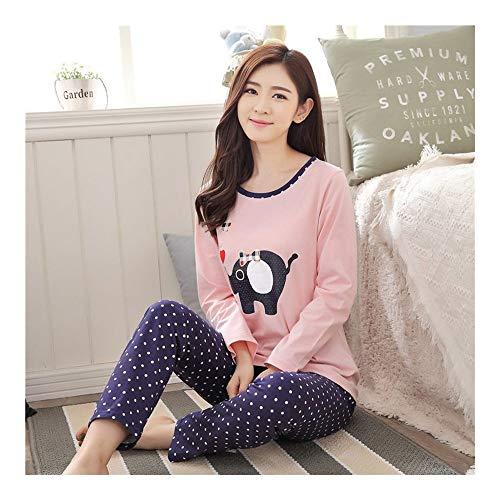HAOLIEQUAN Autumn and Winter Women Pyjamas 2-Piece Sets Thick Warm CoralSuit Long Sleeve Female Cartoon Bear Animal Pants Sleepwear,Daxiang Pink Navy,XXL -