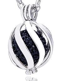 Morella Damen Schutzengel Halskette Edelstahl 70 cm mit Anhänger Spirale und Klangkugel Zirkonia in Schmuckbeutel