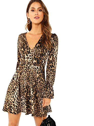 SOLY HUX Mujer Vestido Leopardo Mini Corto de Manga Larga Fiesta Sexy para Invierno o Otono