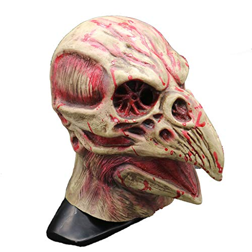 Thriller Kostüm Themen - LGP Vogel Schädel Maske Halloween Realistische Horror Maske Tier Horror Thriller Scary Maske Vollkopf Cosplay Halloween Kostüm Thema Maske,Flesh