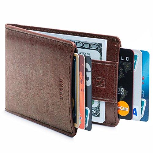 HUSKK Ultra Slim Bifold Geldbörse aus Leder - Top-Qualität Leder - bis zu 8 Karten