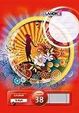 LANDRE 100050046 Schulheft 10er Pack A4 16 Blatt Lineatur 38 - kariert mit Doppelrand perforiert und gelocht 3 Motive sortiert