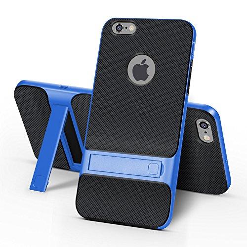 BCIT iPhone 6 Plus Custodia - ibrida Morbido resistente agli urti + Bumper Frame Dual Layer Case con Supporto di protezione per iPhone 6 Plus - Oro Blu