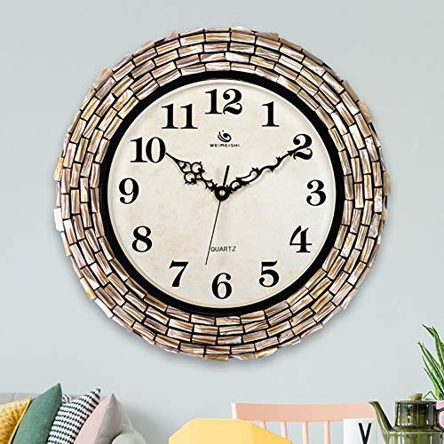WJXBoos Mosaik Große Wanduhr, 28cm Glas zifferblatt, 41cm mosaik Grenze Leise Genaue Quarz Uhr Metallrahmen Zeiger Handmade Dekor-E 16 inch(40.5 cm) - Glas-mosaik-grenze