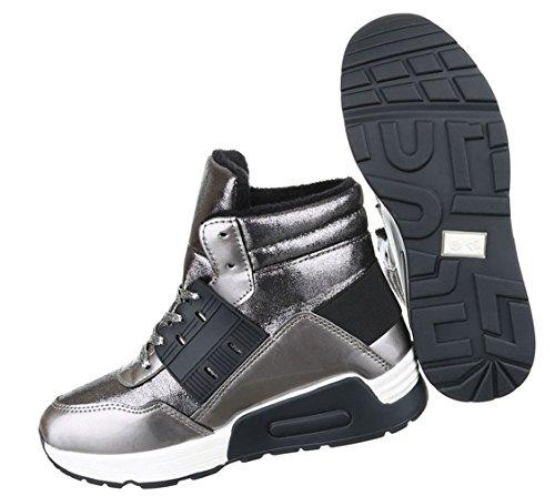 Damen Freizeitschuhe Schuhe Runner Sportschuhe Sneakers Schnürer Schwarz Grau 36 37 38 39 40 41 Grau
