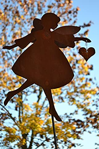 Gartenstecker Engel Gartendeko Rost - Engel mit Doppelflügel-Gartendekoration Rost - sehr gute Qualität, Höhe ca. 120 cm, Engelhöhe 40 cm, Breite 30 (Große Weihnachts-elfen)