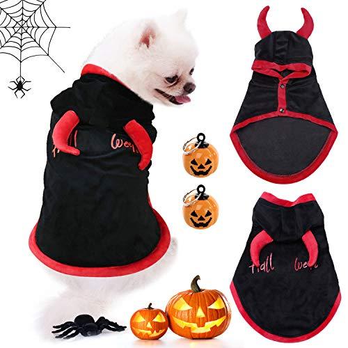 Justdolife Haustier-Umhang, Haustierkostüm, Kleidung mit 2 Kürbisglocken, Samt-Umhang für Halloween, Ochsenhorn, für kleine Hunde und Katzen