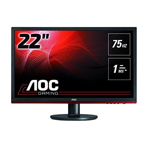 "AOC G2260VWQ6 - Monitor gaming de 21,5"" (75 Hz, 1MS, FreeSync, Anti-Blue, DP) color negro y rojo"