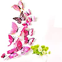 Gaddrt 12Pcs/Pack Curtain Butterfly Shape Sticker Pin for Wedding Home Decor Decal Applique