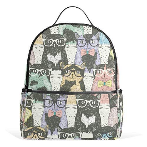 ZXL Hipster Nette Katze Brille Bogen Rucksack wasserdichte Schulter Schultertasche Gym Rucksack, Bunte Tiere Muster Kätzchen Tasche Casual Day Pack Outdoor Reise Sporttasche für Frauen Männer