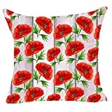 Charming Red Poppies Flowers Throw Pillow Cover Cushion Case Cotton Linen Material Decorative 18
