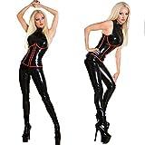 MZQ Sexy Women Wet Look Lingerie Lack Leder Catsuit Jumpsuit Club Kleidung,XXL