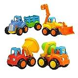 Kunststoff Spielzeugauto 4 Traktor Bulldozer Mixer Truck und Kipper für Kinder Kinder Jungen Mädchen ab 1 bis 3 jahren