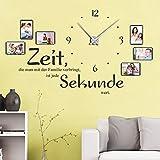 DESIGNSCAPE® Wandtattoo Uhr Familienzeit mit Fotorahmen - Zeit, die man mit der Familie verbringt, ist jede Sekunde wert. 120 x 69 cm (BxH) weiss inkl. Uhrwerk silber, Umlauf 44cm DW813031-M-F5-SI Test