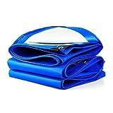 Lona Impermeabilizante A Prueba De Agua Pantalla De Lluvia Gruesa Sombra Paño Poncho De Aislamiento Lona De Lona Toldo Camión De Aceite Vertido, Azul + Blanco, Espesor 0.28 Mm, 160 G / M2, 17 Opciones