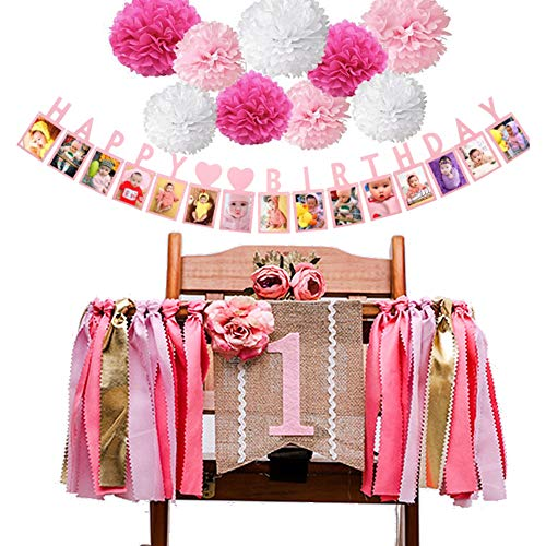 ZNZ Geburtstagsdeko für Mädchen, Baby 1. Geburtstag Party Dekorationen Hochstuhl Banner, Pink Papier Pompons Set, Baby-Fotobanner mit 1-12 Monate Wachstumsrekord, Party Foto Wanddekoration (Pink02)