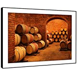 BFC673E photo encadrée Imprimer Wall Art - cave fût de vin d'orange baril moderne Scenic Paysage Salon Chambre Piece Home Décor Facile Guide Accrocher (86X61cm)