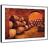 BFC673D photo encadrée Imprimer Wall Art - cave fût de vin d'orange baril moderne Scenic Paysage Salon Chambre Piece Home Décor Facile Guide Accrocher (72X51cm)