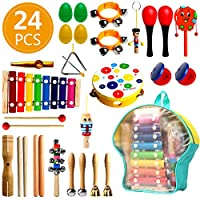 UHAPEER 24 Pieces Musical Instruments Kids Toy Set Wood Percussion Set for Toddlers and Baby, Drums Percussion Rhythm Toys Music Kids Toys with Carrying Bag