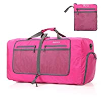 Bekahizar Foldable Duffle Bag 60L Lightweight Travel Duffel Luggage Bag with Shoe Compartment Shoulder Strap for Men Women Outdoor Camping, Gym, Sport, Storage, Shopping (Rose Red)