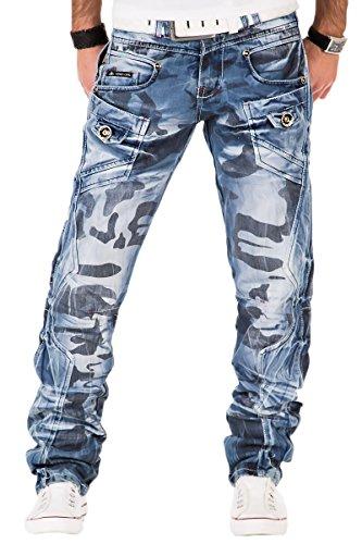 Kosmo Lupo K&M 601 Designer Herren Jeans Bw Hose Clubwear Carmoflage Style Verwaschen W29-W38 / L32-L34, Größe:W36 / L34