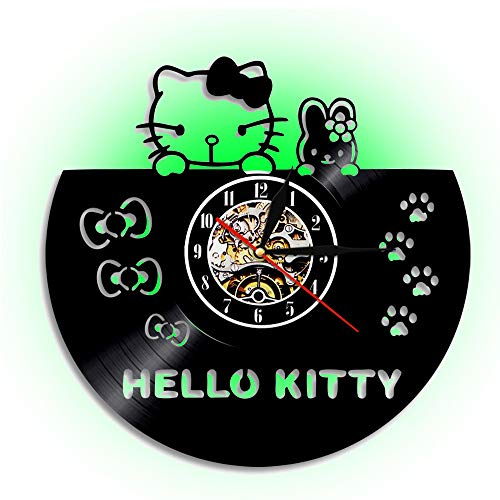 Hello Kitty Vinyl Record Wall Clock, LED Acrylwall Uhr, Quartz Silent, Schlafzimmer Dekoration Retro Home Color Change