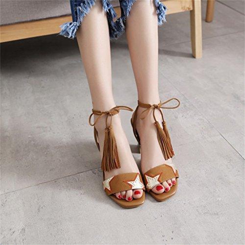 ALUK- L'Europe et les États-Unis - gland de pointe de la personnalité avec les sandales à la mode à la mode ( Couleur : Marron clair , taille : 39 ) Marron clair