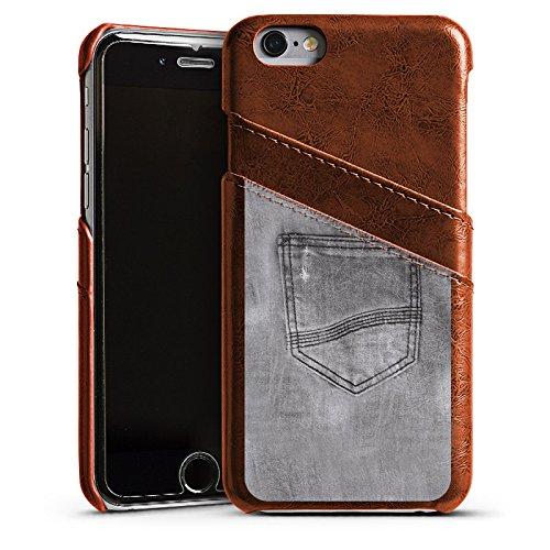 Apple iPhone 5s Housse Étui Protection Coque Style jeans Pantalon Gris Étui en cuir marron
