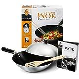 Ken Hom Carbon Steel Non-Stick Wok Set with Lid, 31 cm, 4 Pieces - Silver