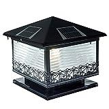Nianle Solar Column Head Licht LED Outdoor Garten Licht Wasserdichte Wandleuchte Hausgarten Villa Tür Spalte Beleuchtung Lampe (Farbe : SCHWARZ)