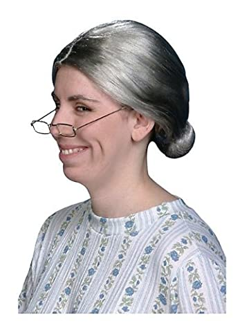 Old Granny Costumes Déguisements - Granny Old Lady Perruque avec Bun Costume