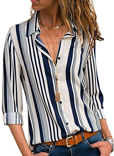 FIYOTE Damen Bluse Elegant Chiffon V-Ausschnitt Langarm Casual Oberteil Lose Langarmshirt V-Ausschnitt Vintage Tunika Hemd T-Shirt Weiß M