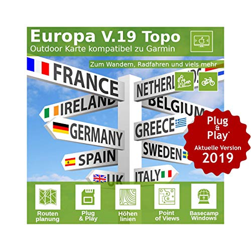 Europa V.19 MAC Version - Profi Outdoor Topo Karte passend für Garmin Navigation - Zum Wandern, Geocachen, Bergsteigen, Fahrrad, Radfahren, Radtour - MAC Version Garmin Etrex Legend Gps-system