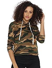 Campus Sutra Women's Camouflage Hooded Top